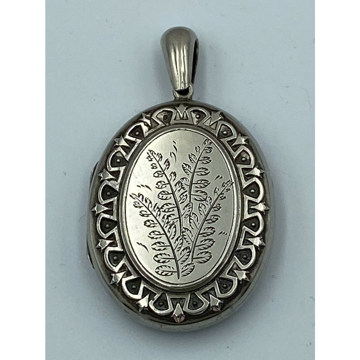 Lovely Simple Fern Flora Engraved Antique English Silver Locket