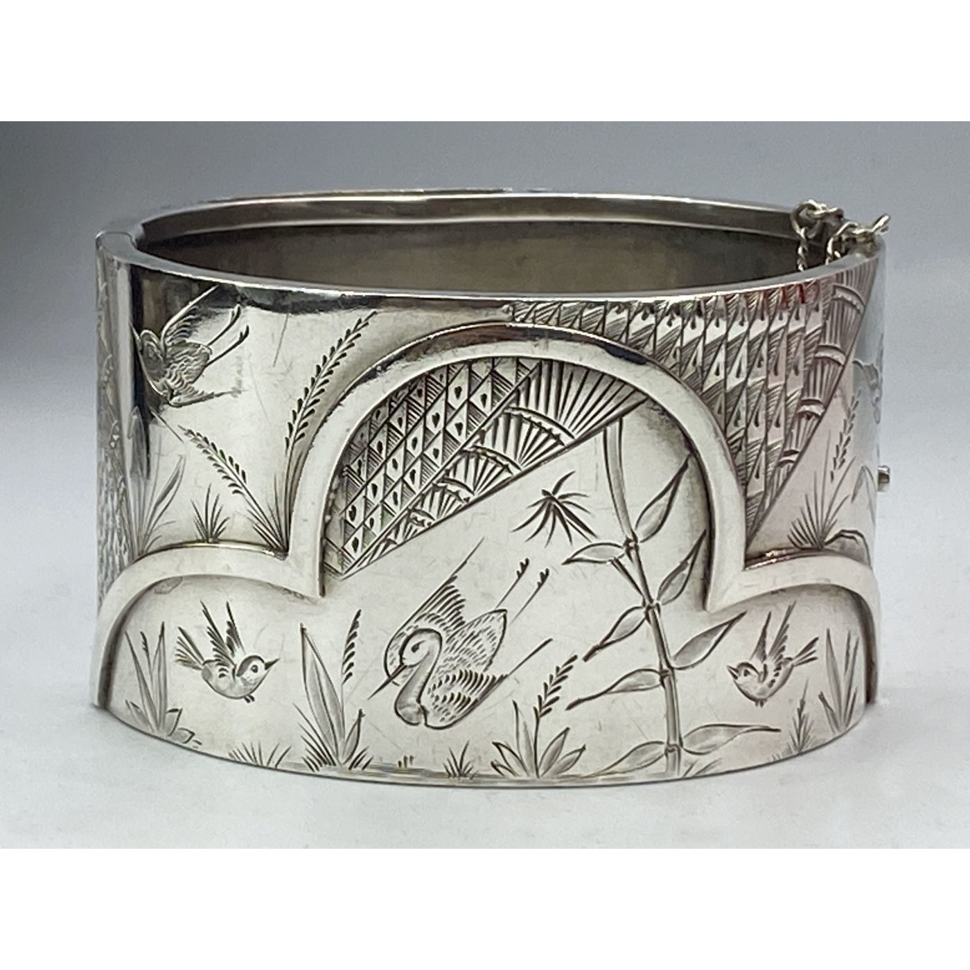 Unbelievable Swallows, Diving Birds, Cattails, Flowers Engraved Antique English Silver Bangle