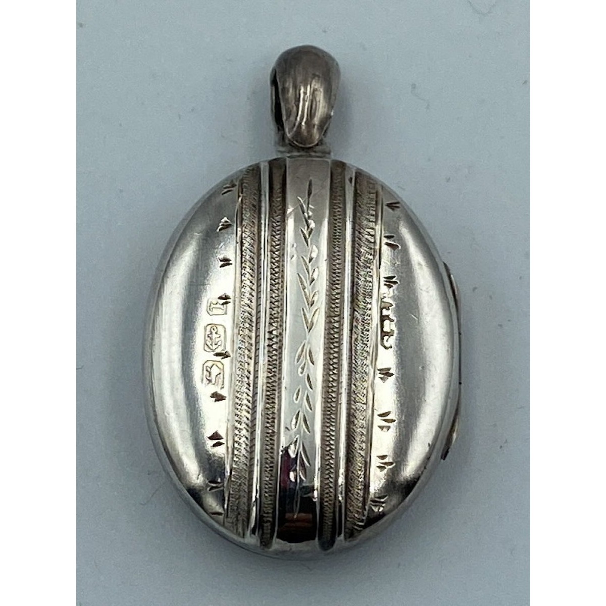 Super Sweet Small Vertically Engraved Antique English Silver Locket