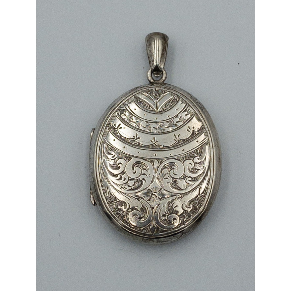 Double-Sided Victorian Floral Antique English Silver Locket