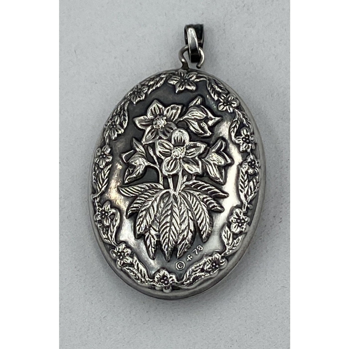 Lovely Floral Victorian English Silver Pendant