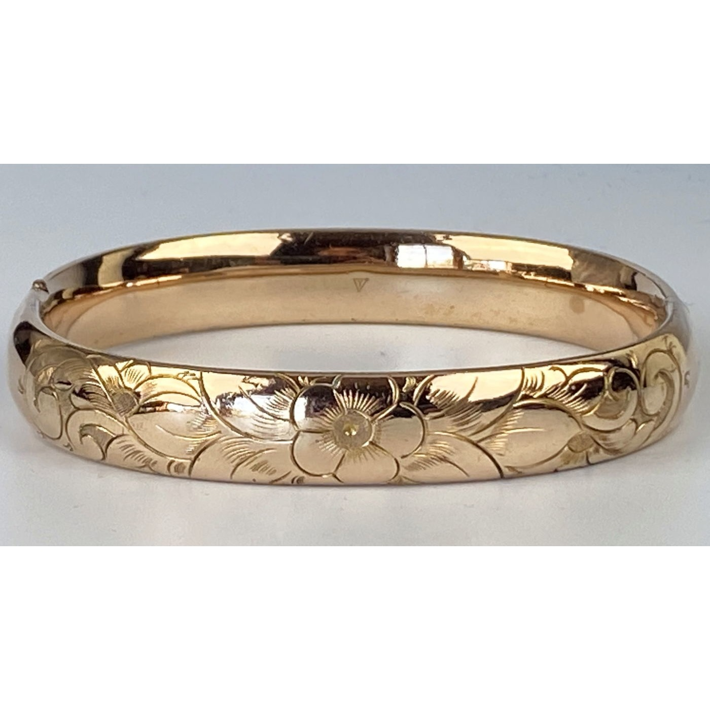 Larger Size Slightly Narrow Stacker Floral Engagement Bangle