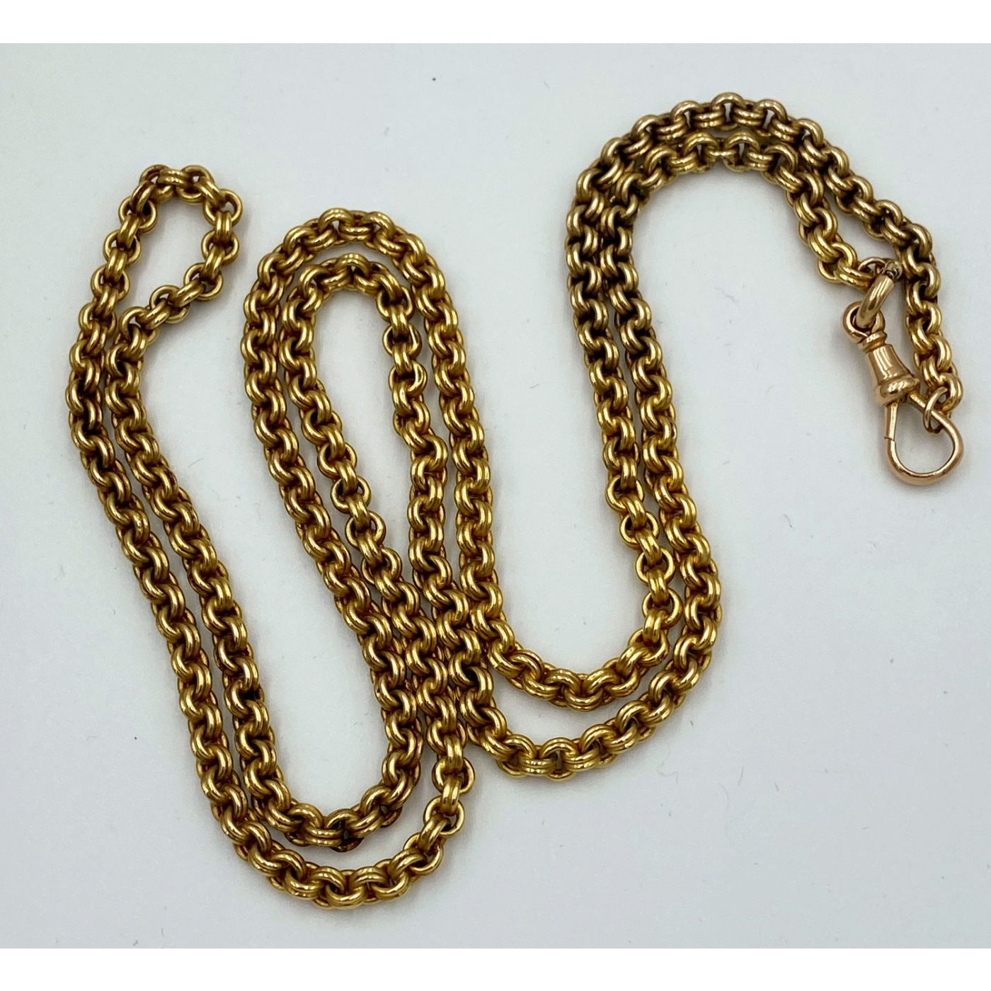 """Exceptional 30"""" 15 karat Gold Tightly Woven Rolo Link English Watch Chain"""