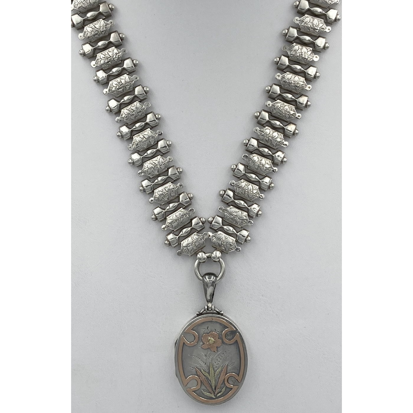 Fabulous Wide Floral Beaded Antique English Silver Collar Chain - Chain Only