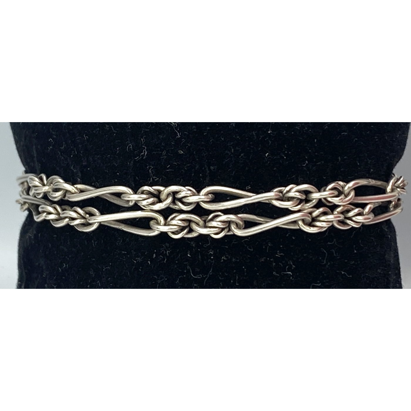 Double Row Twist Link, Perfect Stacking Antique English Silver Bracelet