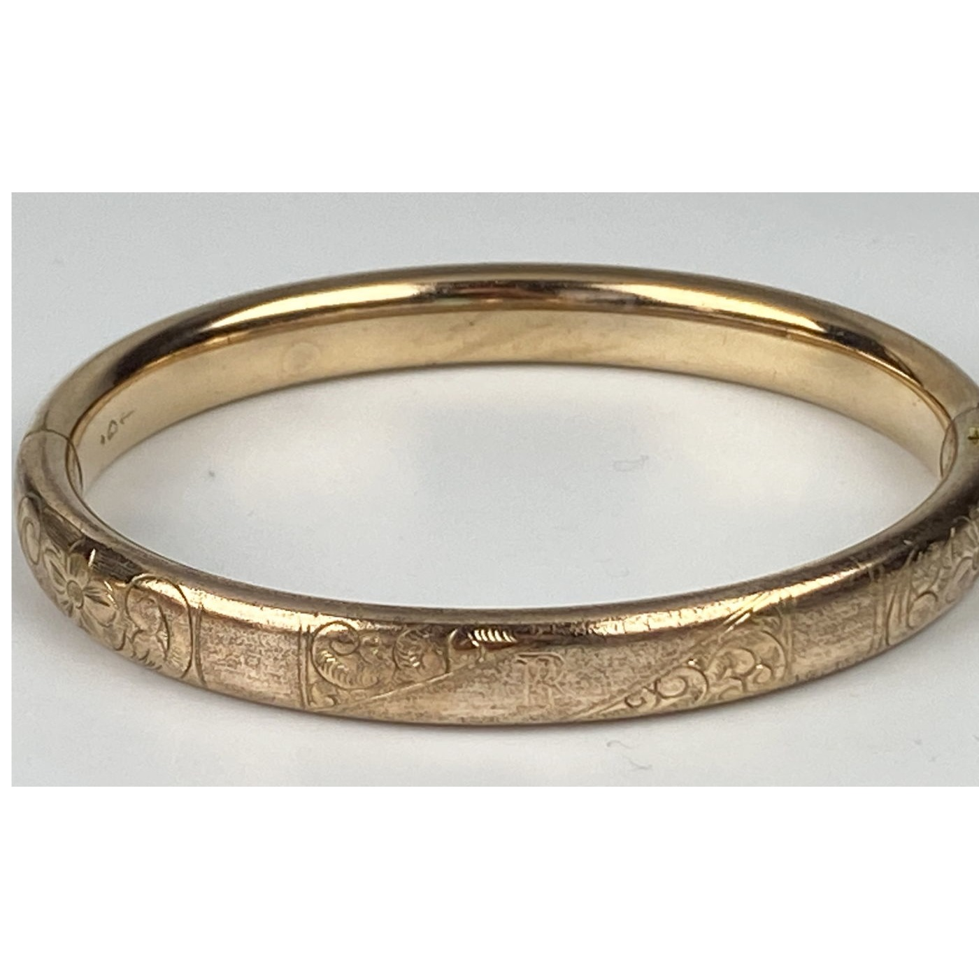 "Lovely Engraved Narrow ""R"" Engagement Bangle"