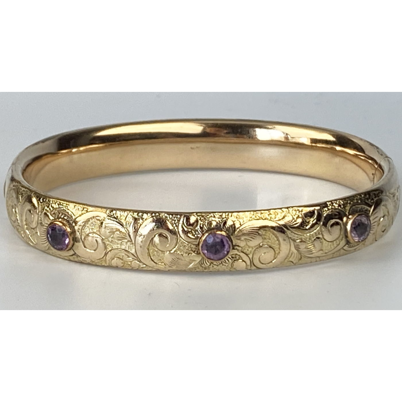 Deeply Engraved with Light Purple Stones Engagement Bangle