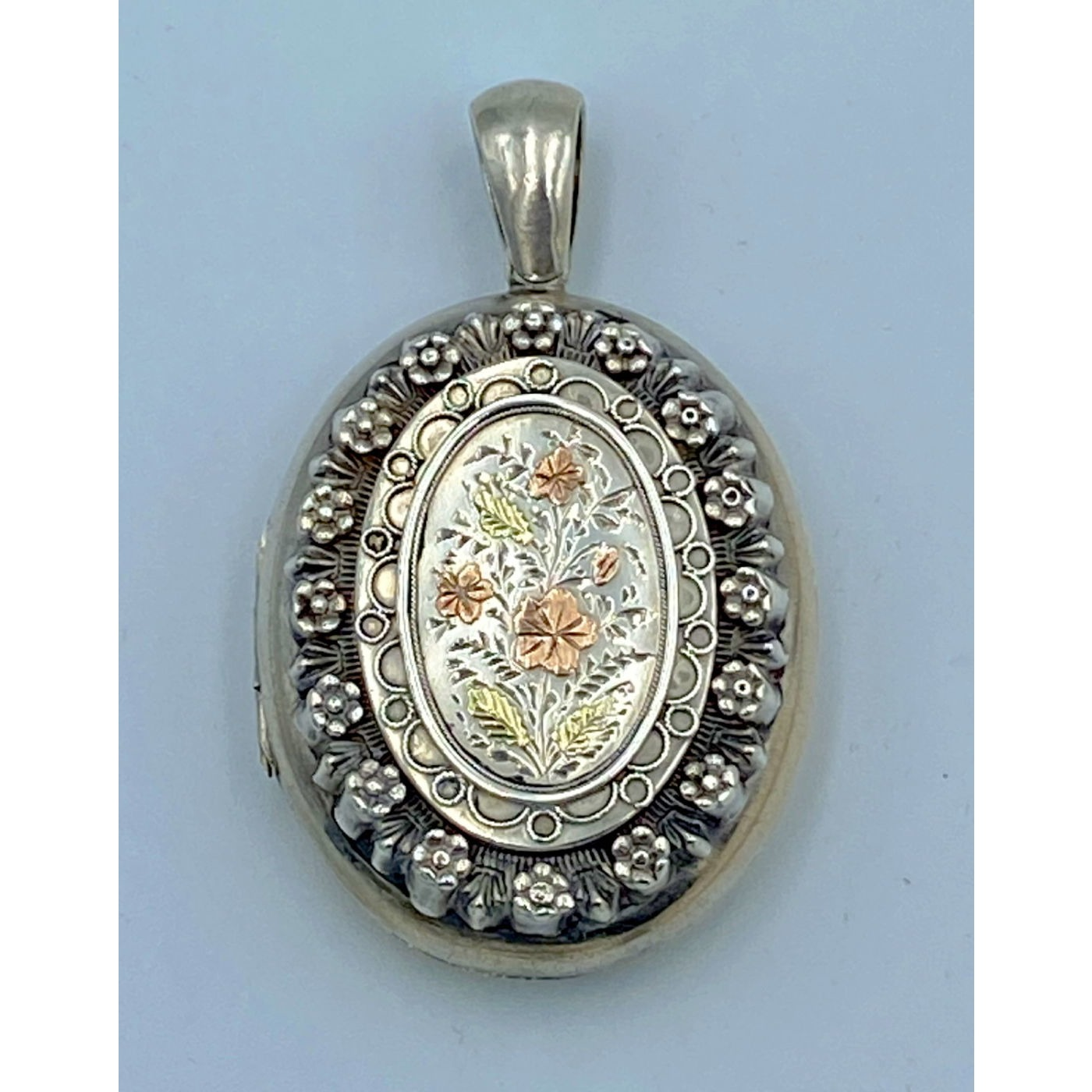 Exquisite Rose and Yellow Gold Floral Decorated English Silver Locket