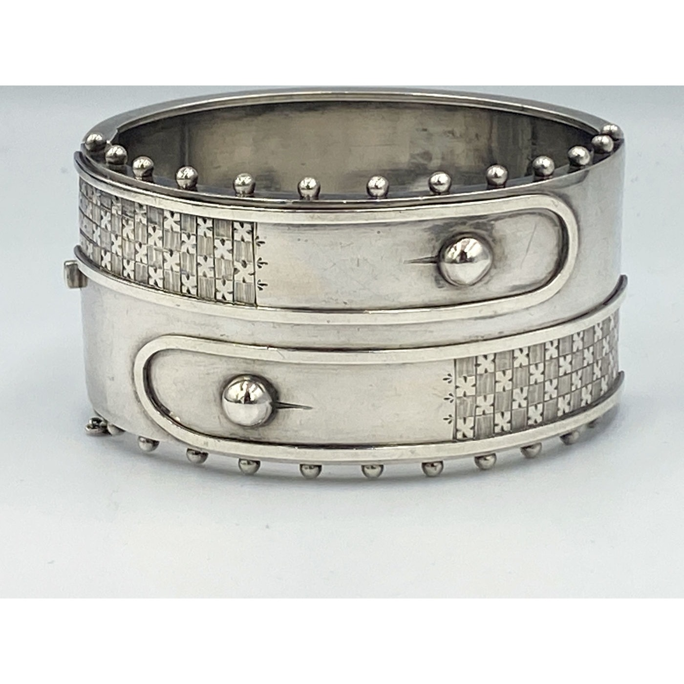 Double Shirt Cuff Beaded Edge Sterling Silver English Bangle