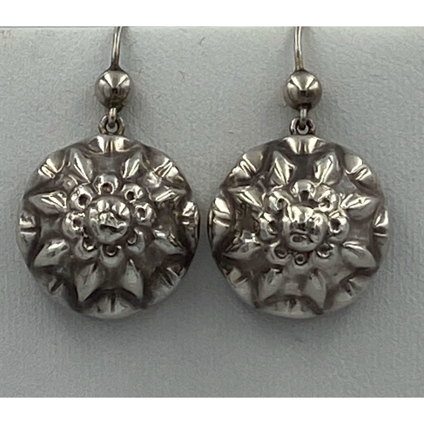 Fabulous High Domed Hollow Floral Antique English Silver Earrings