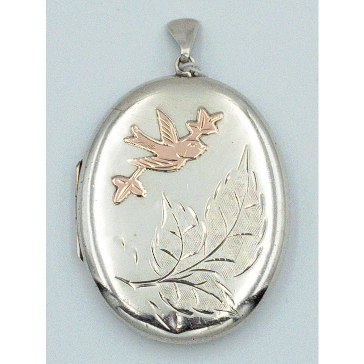 Extra Large Rose Gold Swallows Bird Antique English Silver Locket