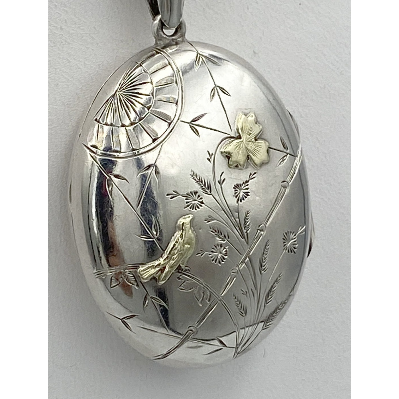 Super Sweet Domed Yellow Gold Bird & Flower Antique English Silver Locket