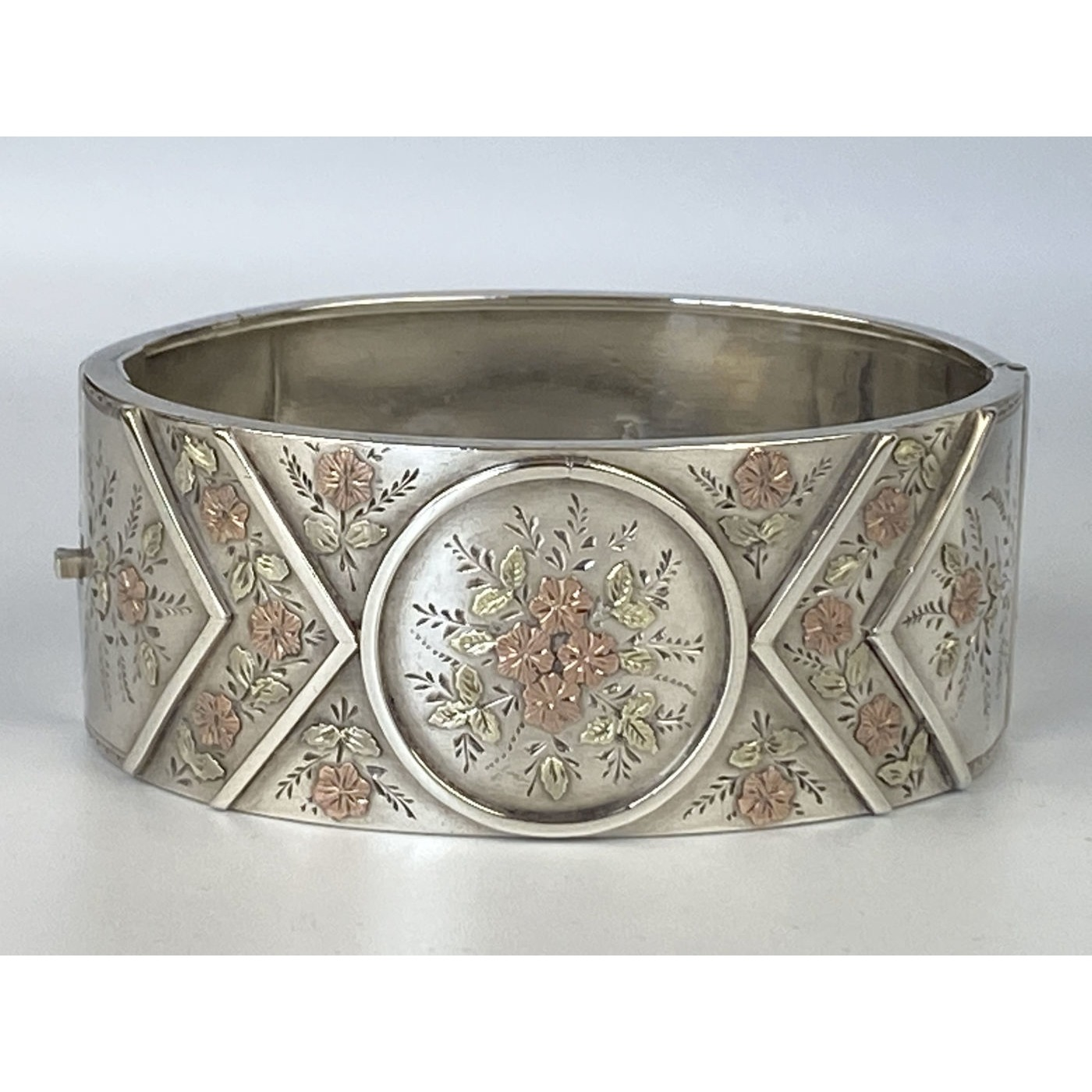 Fabulous Rose Gold Flowers on an English Silver Bangle