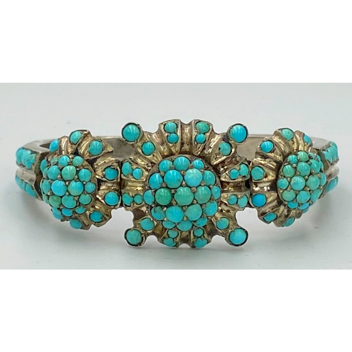 Tremendous Persian Turquoise Gilded Antique English Hinged Cuff Bangle
