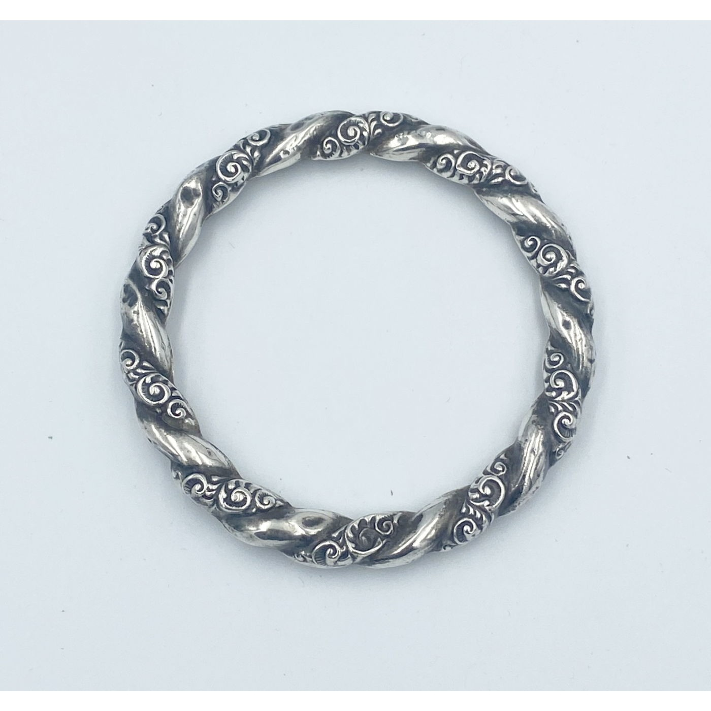 Lovely Sterling Silver Repousse Twist Bangle