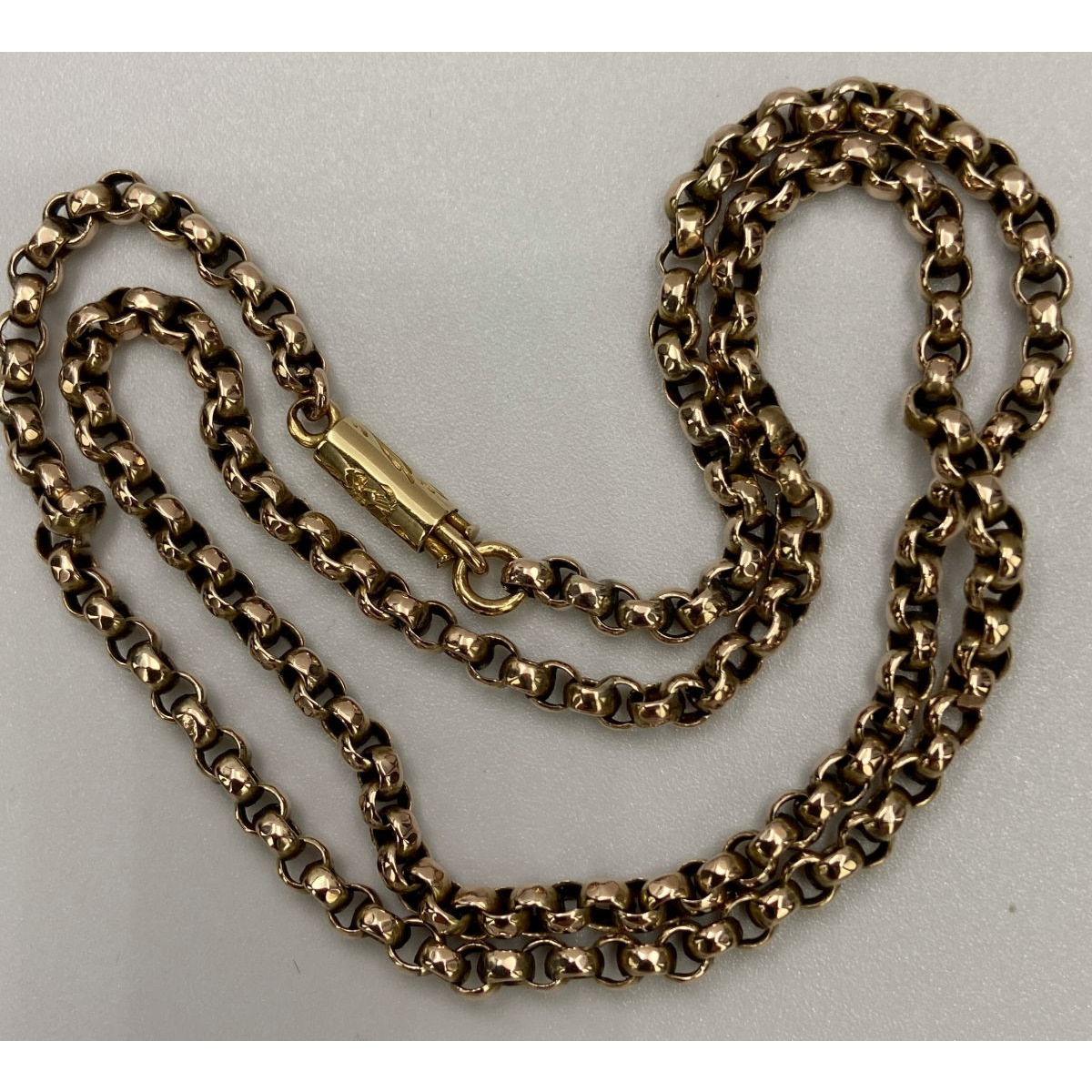 "16.5"" Small Rolo Link Antique English Gold Chain"