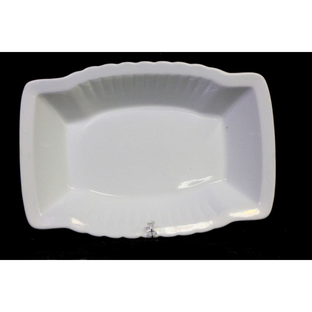 Rectangular Fluted Edge Ironstone Vegetable Serving Bowl