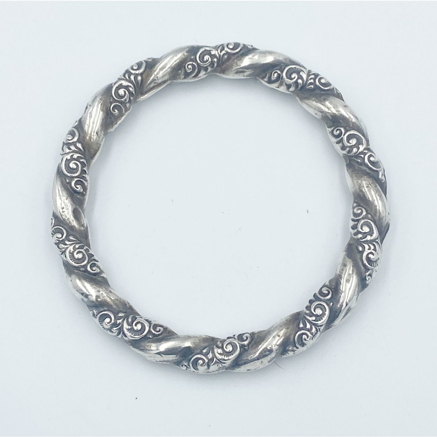 Beautiful Engraved Repousse Sterling Silver English Teething Bangle - 2