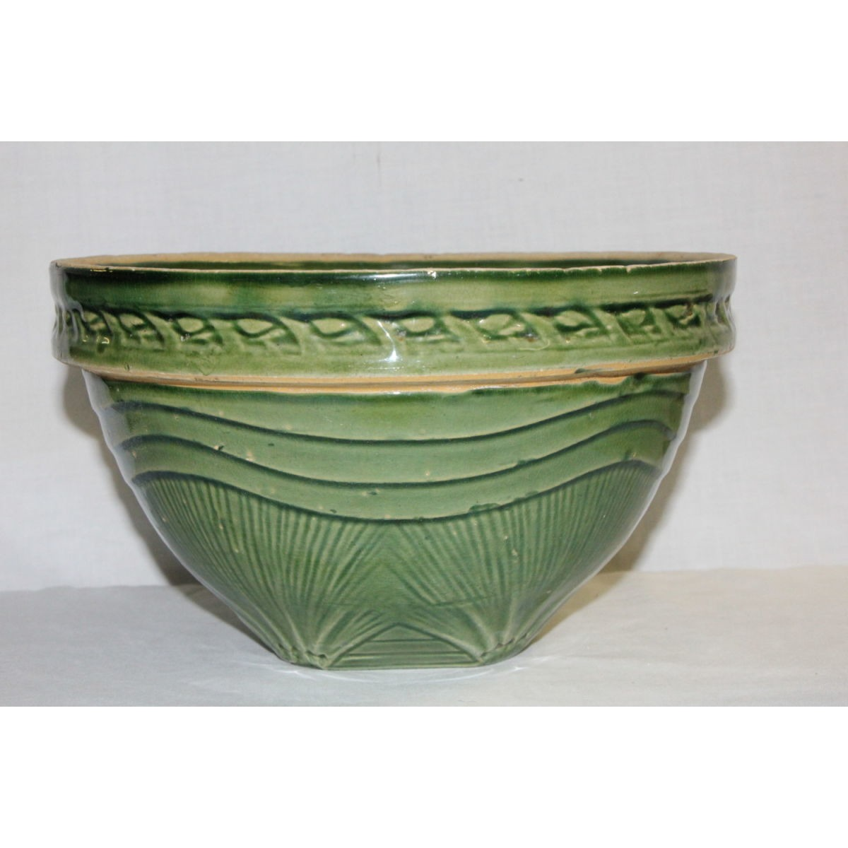 "Green Glazed Yellowware 9.5"" Sunrise Bowl"