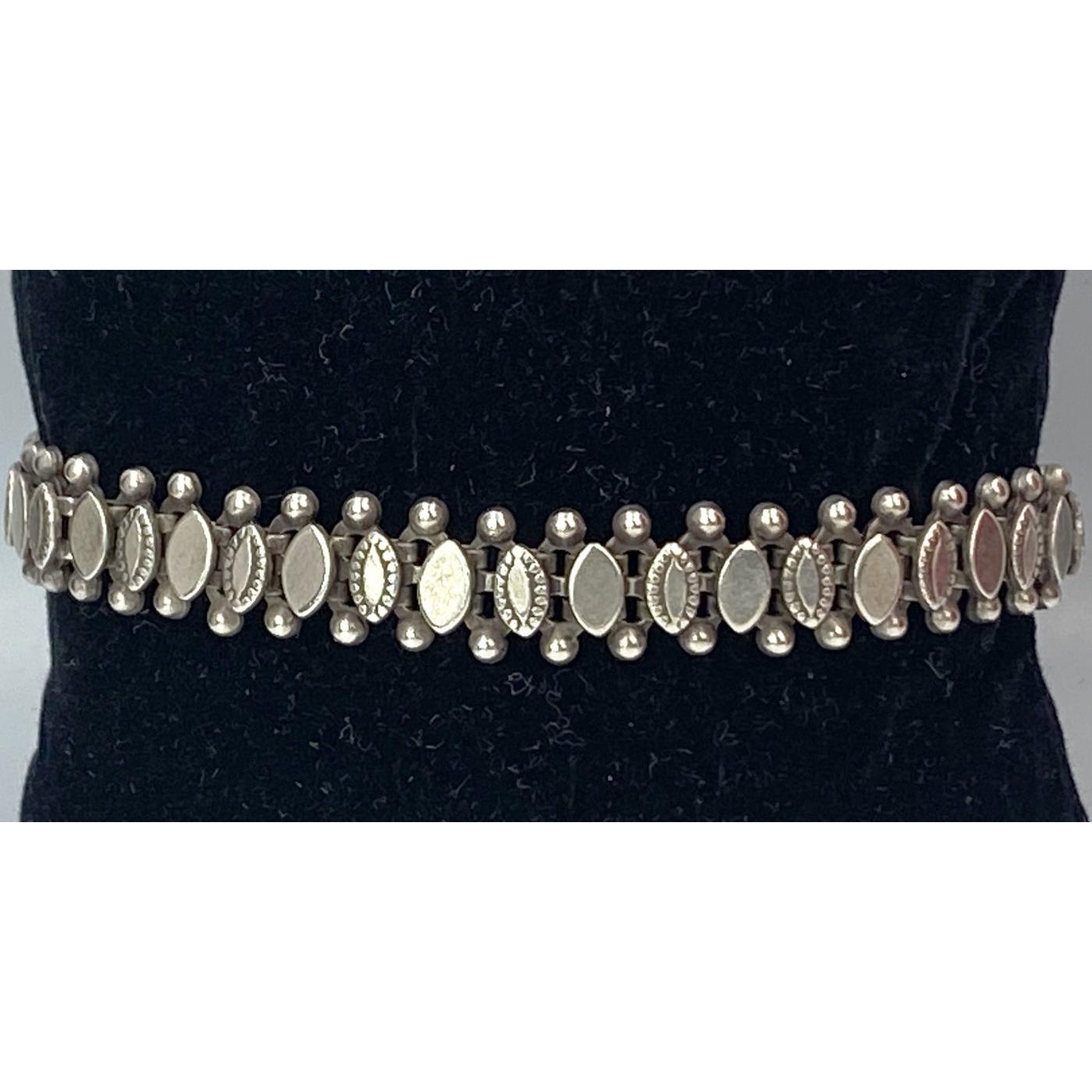 Larger Wrist Paneled Antique English Silver Bracelet