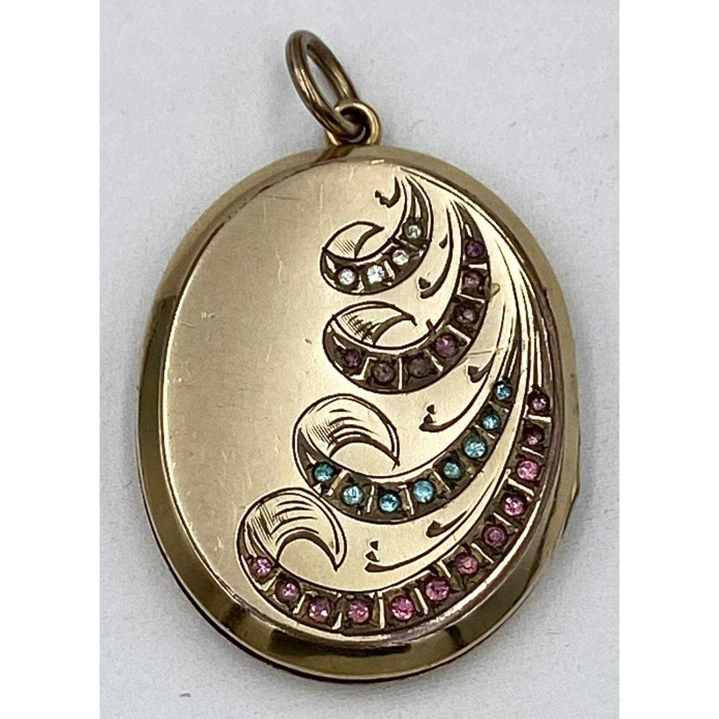 Excellent Gold-Filled Locket with Colored Stones