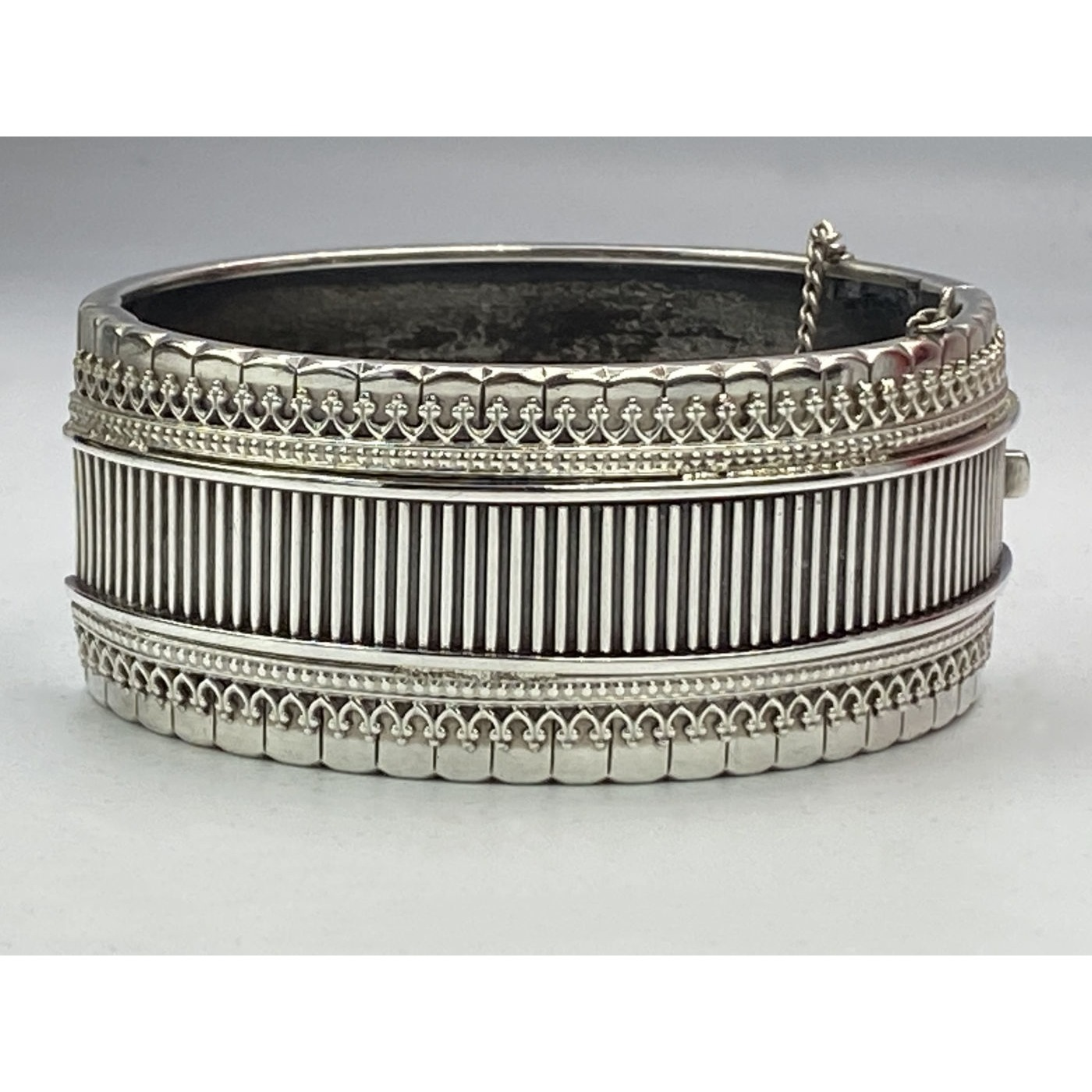 Fabulous Larger than Average Gallery Wire, Vertical Rib Antique English Silver Bangle