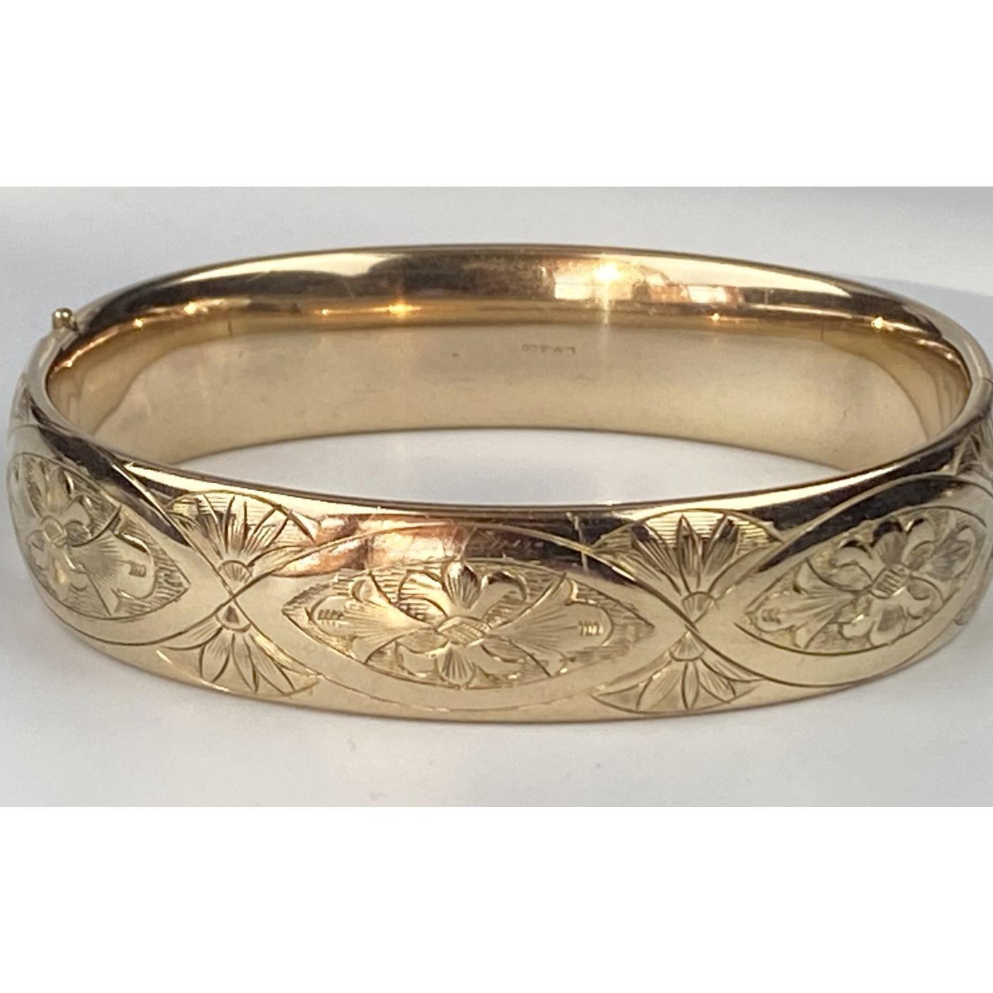 Enchanting Engraved Diamonds Engagement Bangle