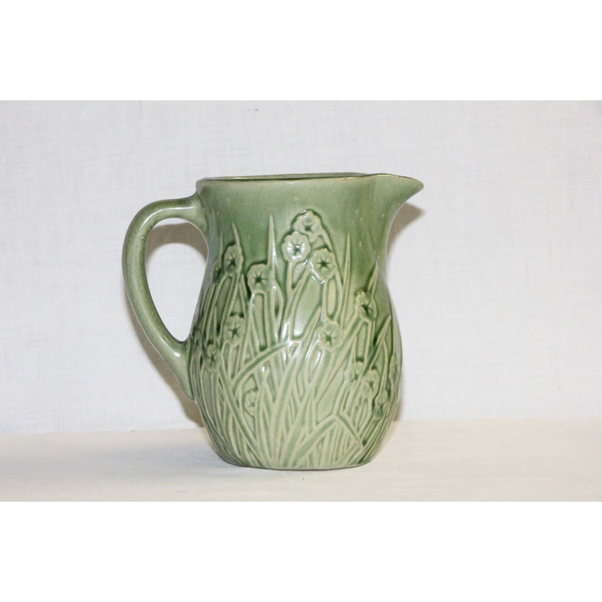 Small Forget-Me-Not Floral Green Glazed Yellowware Pitcher
