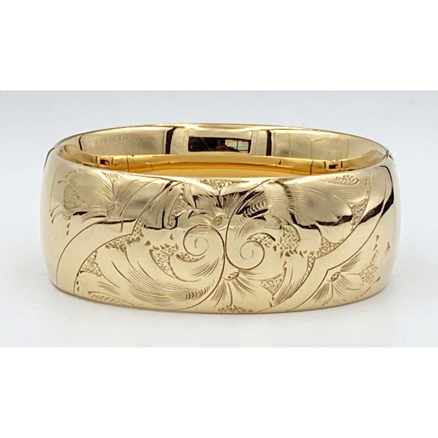 Lovely Wide Swirls Gold-Filled Engagement Bangle - Larger
