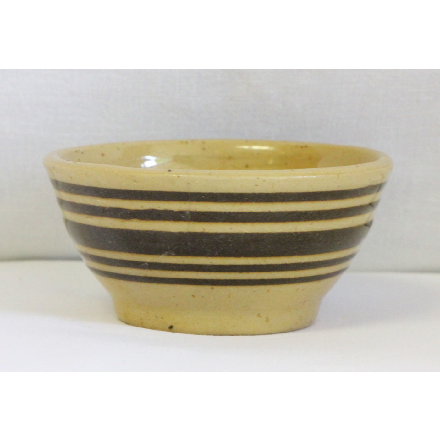 """Super Small 4"""" Chocolate Brown Banded Yellow Ware Bowl"""