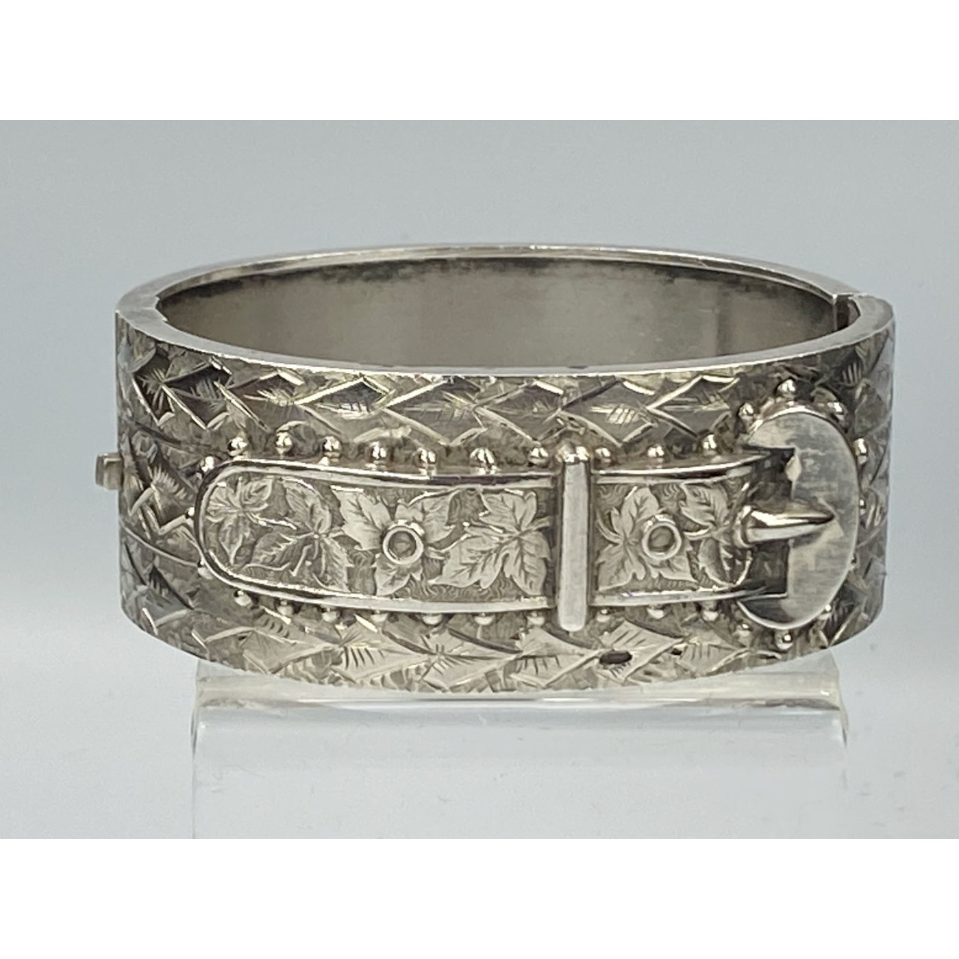 Fabulous English Silver Buckle Bangle with Ivy