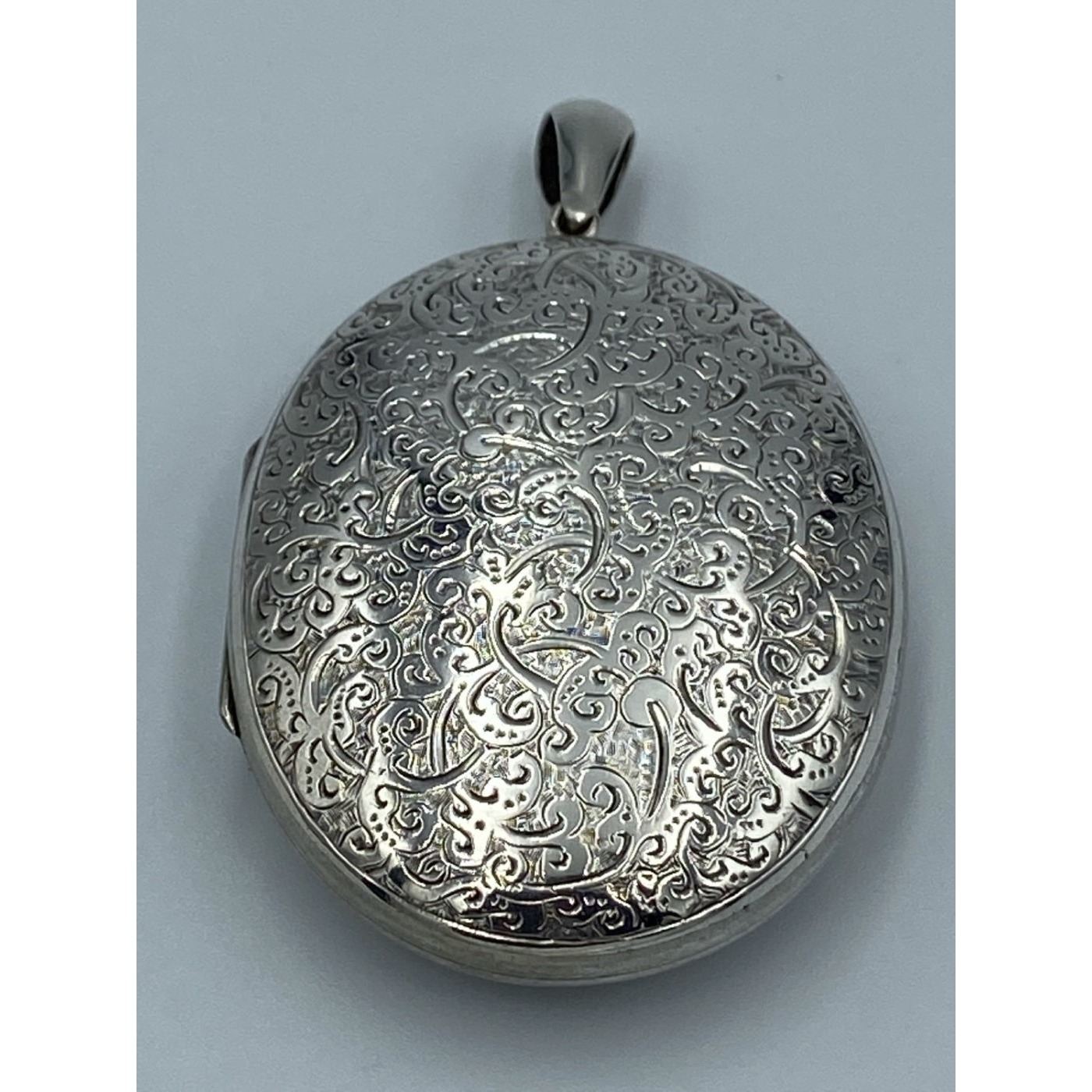 Ornately Engraved Front and Back Oversize Large Silver Victorian Locket