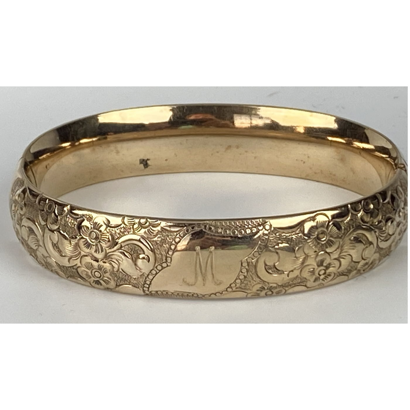 "Gorgeous Multi-floral ""M"" Monogrammed Engagement Bangle"